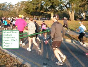 Image of us running around Mile 6 of Myrtle Beach Half Marathon