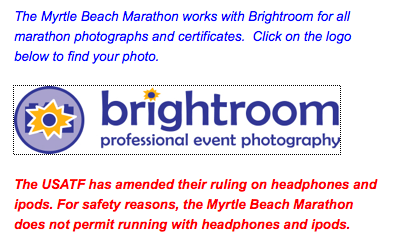 Message appearing on the Myrtle Beach Marathon Site